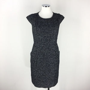 Ann Taylor S 6 P black White Tweed sheath dress